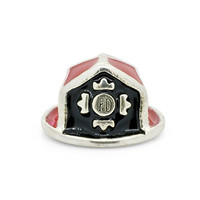 Everbling Red Enamel Fire Department Fireman Hat 925 Sterling Silver Bead Fits Pandora Charm Bracelet
