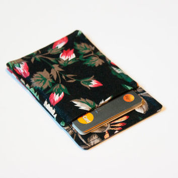 Black Floral Thin wallet - Minimalist wallet - Business card holder - Business card case - Slim card wallet - Modern Wallet - OOAK
