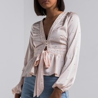 AKIRA Satin Soft Tie Front Long Sleeve Pearl Embellished Top in Cream