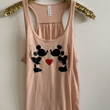 IG - FLASH SALE - Mickey and Minnie -  Ruffles with Love - Racerback Tank - Womens Fitness