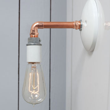 Copper Pipe Wall Sconce Light - Bare Bulb Lamp