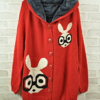 Bunny Long Hooded Sweater Cardigan Coat Knit Winter Thick Warm Outerwear Jackets