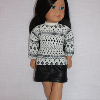 18 inch doll clothes, black and off white sweater, faux leather skirt, american girl ,maplelea