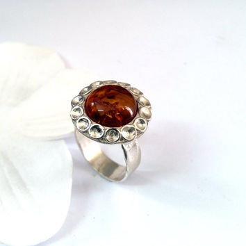 flower ring,organic silver ring,gift for women,handmade ring,gift for her,birthday gift,Amber ring,stone ring,nature jewelry,unique ring