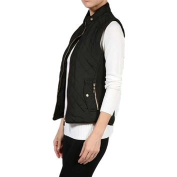 Quilted Padded Vest, Black