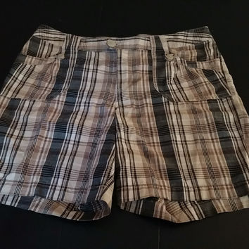 Women's Plaid Shorts Bermuda Brown Black Plus Size 18W