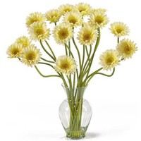 Cream Gerber Daisy Liquid Illusion Silk Flower Arrangement