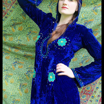 60s 70s HOLY MOUNTAIN Ultimate Hippie Velvet Maxi Cloak dress