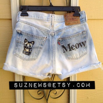 Kitty Cat Daisy High Waisted Shorts MEOW Dip Dyed Ombre Denim Waist 28 Hipster Hand Stamped Cat //SUZNEWS ETSY Store//