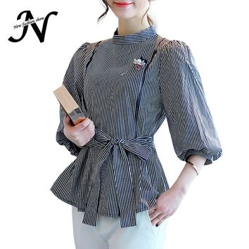 Casual Striped Shirt Spring 2017 New Fashion Cotton Warp Blouse With Lantern Sleeve Slim Waist Korean Peplum Tops Women Clothes