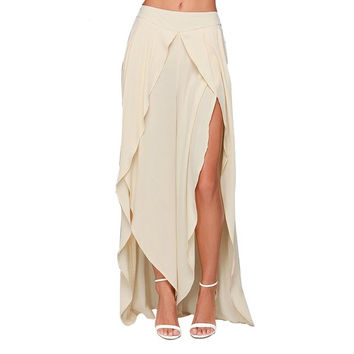 Beige Asymmetrical High Waist Maxi Fish Tail Chiffon Skirts = 1946230724