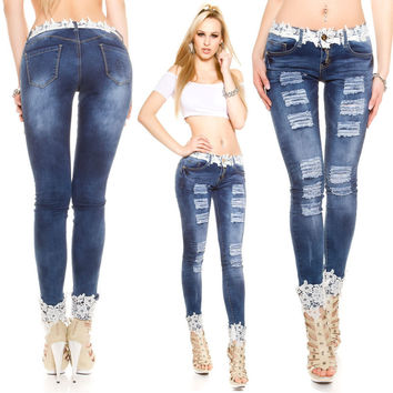 All-match Fashion Casual Lace Stitching Irregular Ripped Worn Jeans Trousers Small Foot Pants