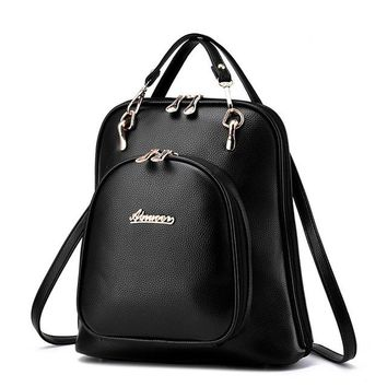 Women Backpack Faux Leather Portable Multifunctional Daily Solid Vintage Litchi Pattern Fashion Shoulder Travel For Teenage Bags