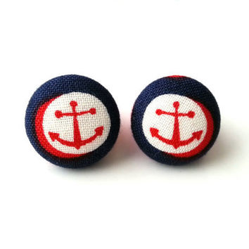 NEW Nautical sailor red anchor fabric button earrings