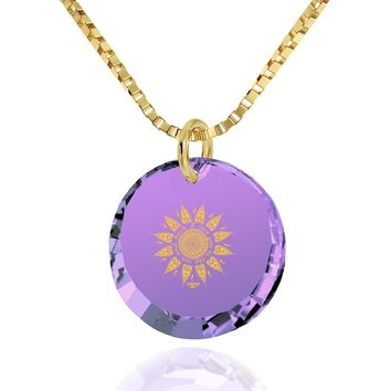 """I Love You to the Sun and Back"", 24k Gold Plated Necklace, Cubic Zirconia"