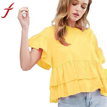 Women Blouse Shirt Petal Short Sleeve Ruched Casual Yellow
