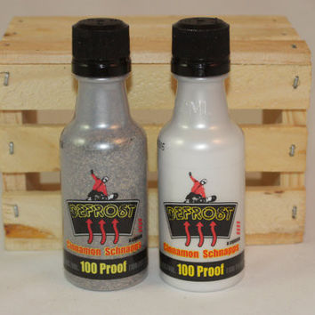 Salt & Pepper Shakers Upcycled from Defrost Cinnamon Schnapps Mini Liquor Bottles