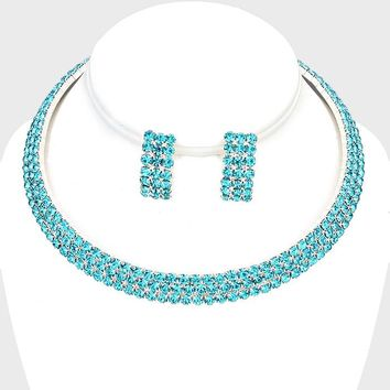 "16"" blue crystal open cuff choker 3 line necklace 1"" earrings bridal prom"