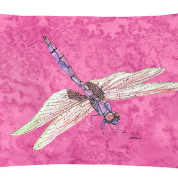 Dragonfly on Pink   Canvas Fabric Decorative Pillow