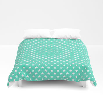 White Stars On Classic Tiffany Aqua Blue Duvet Cover by podartist