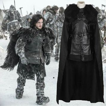 DCCKHY9 Game of Thrones Cosplay Costume Jon Snow Outfit A song of ice and fire Halloween Costumes For Men Women top+cloak+belt+skirt
