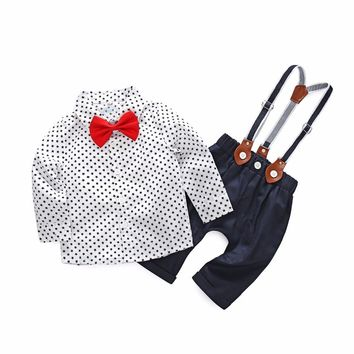 New Baby Boys Formal Clothing Set Toddler Kids Baby Boys Outfits Gentleman Bow Tie Long Sleeves Star Shirt Tops+Suspenders Pants