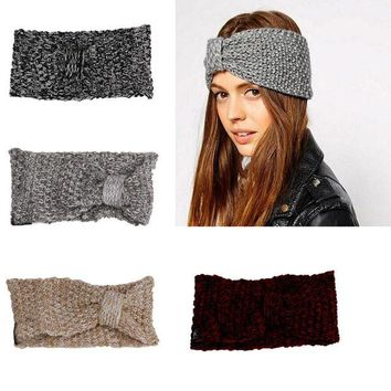 DCCKJG2 Women Crochet Bow Turban Knitted Head Wrap Headband Fashion Winter Ear Hair Band