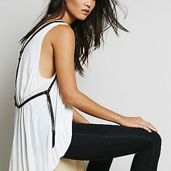 Free People Womens Leather Harness Vest