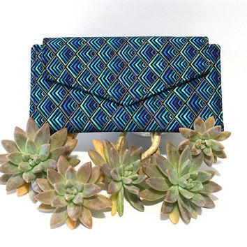 Fabric Bifold Wallet for Women with Coin Pocket - vegan clutch wallet - Ladies Card Holder Wallet - Long Wallet  - phone wallet  cash wallet