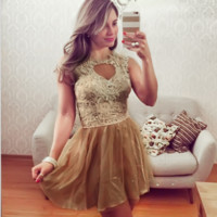New round neck sleeveless gold lace stitching dress women's clothing