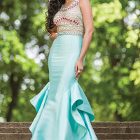 Jovani 28432 In Stock Size 10 Aqua/Multi Jeweled Mermaid Prom Dress