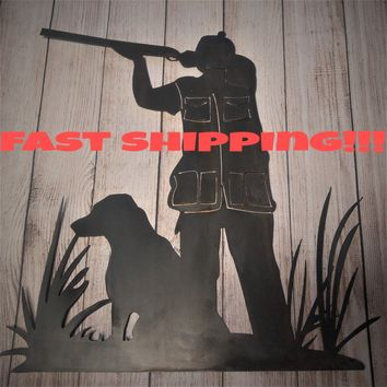 Hunting Wall Decor, Unfinished Metal Decor,  Bird Hunter, Rustic Hunting Sign, Gift for hunter, Waterfowl Decor, Gift Idea, Duck Decor, Dog