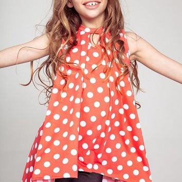 2019 Spring & Summer Kids' Sleeveless Polka dot Print Flowy Hi-Lo Tunic Top with Keyhole Neckline Coral  Pre-Order