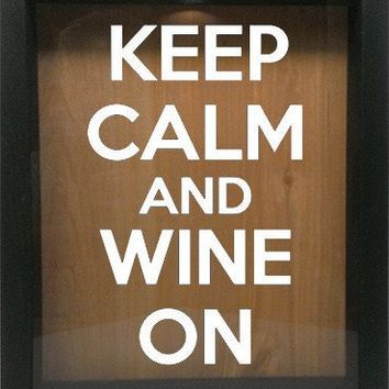 "Wooden Shadow Box Wine Cork/Bottle Cap Holder 9""x11"" - Keep Calm and Wine On"