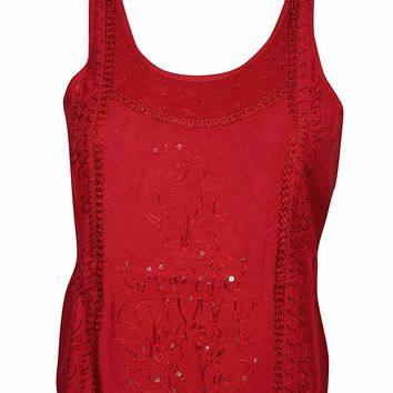 Mogul Interior Hazel Womens Blouse Top Embroidered Sequin Red Sleeveless Boho Hippie Tops X-S