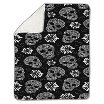 Blanket, Abstract floral skulls