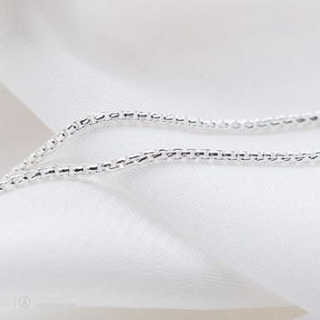 SA SILVERAGE 925 Sterling Silver Box Chain Necklace Made in Italy Fine Jewelry For Women 18 Inches (No Pendant)