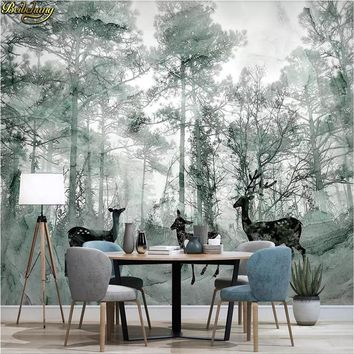 beibehang Custom photo wallpaper mural Nordic forest elk dream marbled TV background wall painting wall papers home decor