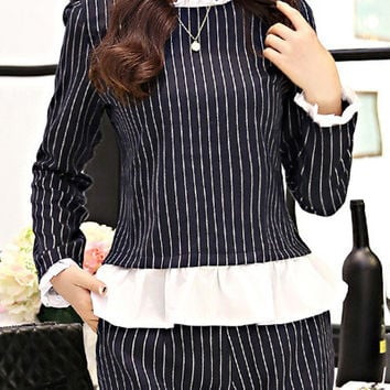 Pinstripe Contrast Ruffled Collar Long Sleeve Top and Shorts Set