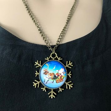 Santa Clause and Reindeer Snowflake Pendant Necklace