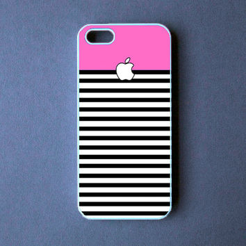 Iphone 5 Case  Pink BW Stripes Iphone 5 Cover by DzinerCase