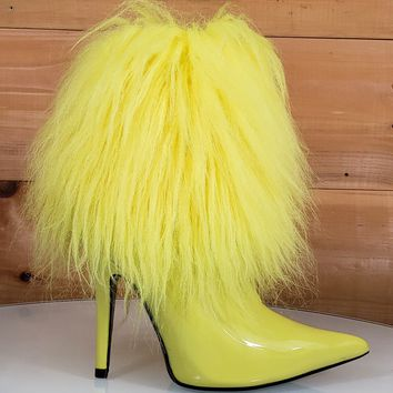 """Cape Yellow Patent Furry Ankle Boot Pointy Toe 4.5"""" High Heel"""