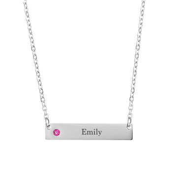 Stainless Steel Personalized Birthstone Engraved Bar Necklace