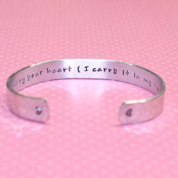 I Carry Your Heart... Custom Hand Stamped Aluminum Cuff Bracelet by Korena Loves