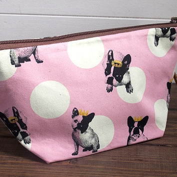 FRENCHIE French Bulldog Polka Dot Cosmetic Bag, Zipper Pouch