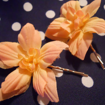 Pair of Pink Whimsy Flower Hair Pins by ZoeAmaris on Etsy