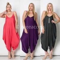 Women Plus size Harem Palazzo Oversized Drape Jumpsuit Romper Jumper Dress 1X-3X