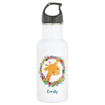 Cute Giraffe with a Floral Wreath Personalized Water Bottle