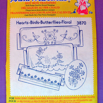 "Aunt Martha's ""Hearts, Birds, Butterflies, Floral"" Hot Iron Transfer Pattern 3870 for Embroidery, Fabric Painting, Needle Crafts"