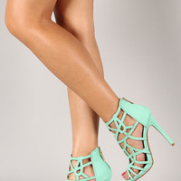 Anne Michelle Perton-54 Caged Open Toe Stiletto Heel
